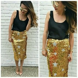 T&J Designs Skirts - Gold Sequin Pencil Skirt Fits 10-15